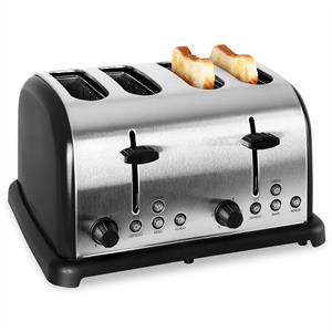 Klarstein 4-slice Stainless Steel Toaster 1650W - Black