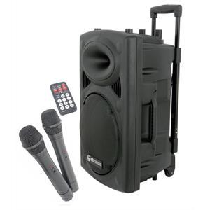 "QTX QR15PA 15"" Active Portable PA Speaker System with Wireless Mics"