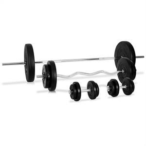 Klarfit Dumbbell Set Barbell Curl Bar 14 x Weights 75kg - Plastic Coated