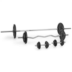 Klarfit Dumbbell Set Barbell Curl Bar 18x Free Weights 82.5kg - Steel Plates
