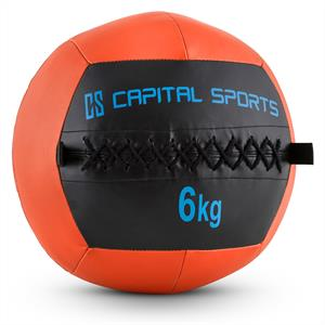 Capital Sports Wallba 6 Wall Medicine Ball 6kg Leatherette Orange
