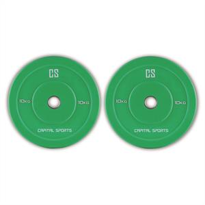 Capital Sports Nipton Bumper Weight Plates Pair 10kg Green Hard Rubber