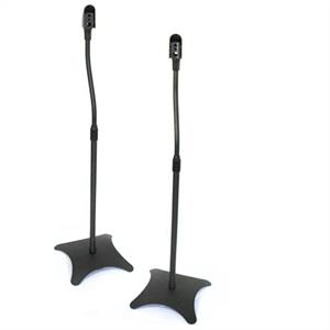 Pair Satellite Speaker Stands Surround Sound Home Cinema - Black